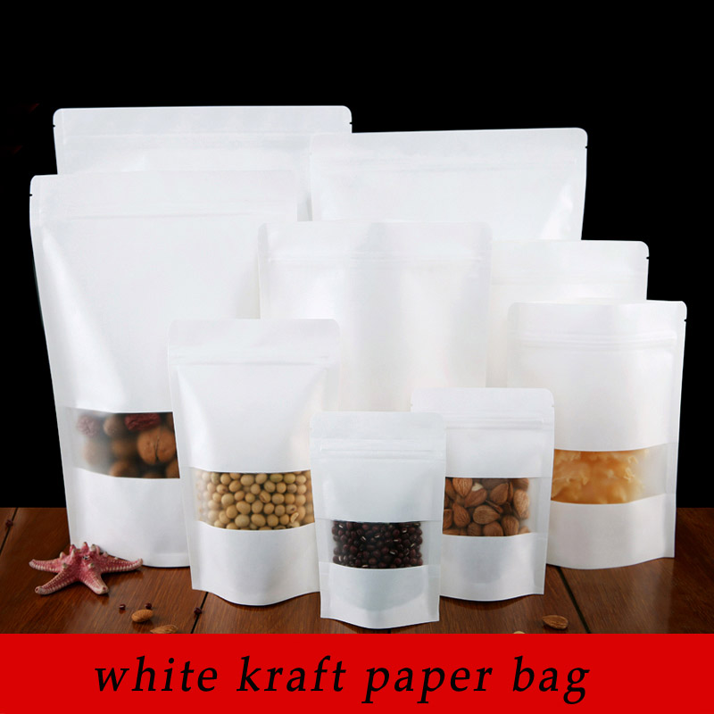 100pcs/lot 14cm*20cm+4cm High Quality White Kraft Paper Packaging Stand Up Zipper Bags(China (Mainland))
