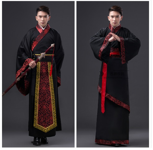 Chinese national hanfu black ancient china costume hanfu men clothing ...