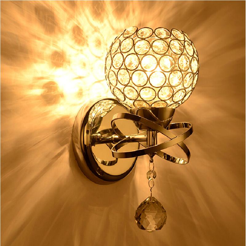 Aliexpress.com : Buy Modern Crystal ball Wall Lamp bedside Bedroom lamp Stair wall Light E14 ...