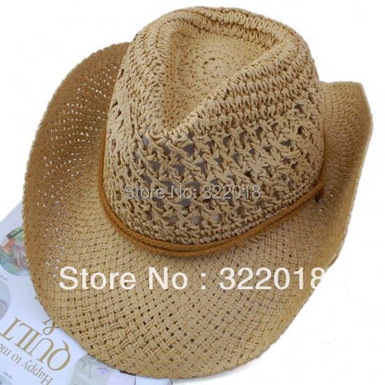 Wholesale Paper Straw Hats 10pcs Trendy 2013 Men Women Cowboy Straw Hat Straw Fedora Caps Summer Beach Sun Cap Ladies Fedoras(China (Mainland))