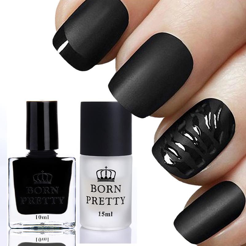 2 Bottles/Set BORN PRETTY 10ml Gloss Black Nail Polish & 15ml Matte Surface Top Coat Manicure Nail Poslish Set