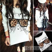2015 summer styles  spot women t-shirt wear Leopard glasses cat t-shirt(China (Mainland))