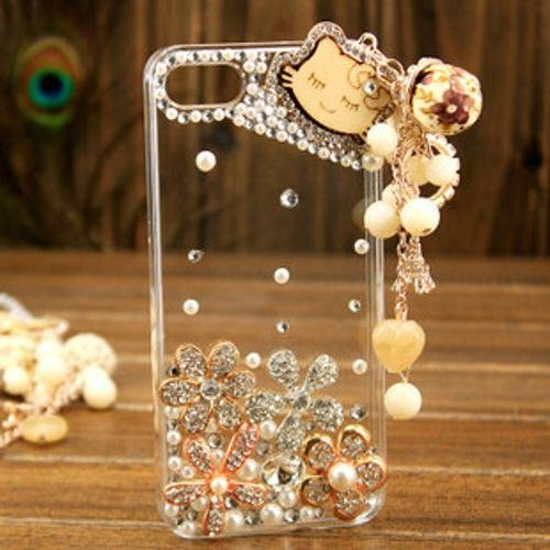 Luxury 3D Wood Heart Kitty Bling Diamond Case Cover For iPhone 5 5S Rhinestone Cases .