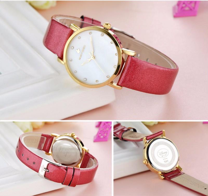 DISNEY Top Brand Женщины часы Мода Дамы Кварцевые Часы Черное платье Золото Роскошные Женщины Горный Хрусталь Часы С Бриллиантами Reloj mujer
