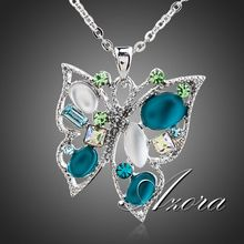 Platinum Plated Multicolor SWA ELEMENTS Austrian Crystal Butterfly Jewelry Pendant Necklace FREE SHIPPING!(Azora TN0100)