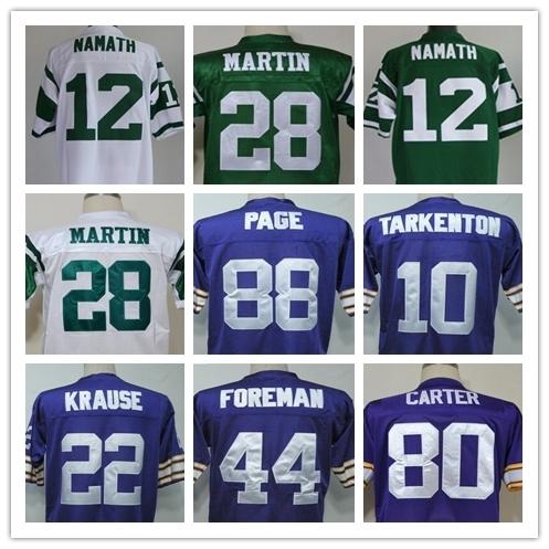 Joe Namath CURTIS MARTIN FRAN TARKENTON Paul Krause Chuck Foreman Alan Page Chris Carter Men's Throwback Jersey Size 48-56(China (Mainland))