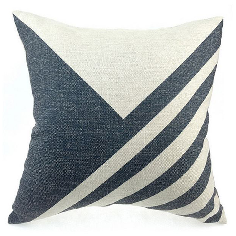 New Cotton Linen Cushion Cover Line Design Throw Geometric Waist Pillow Cover Sofa Bed Home Decoration(China (Mainland))