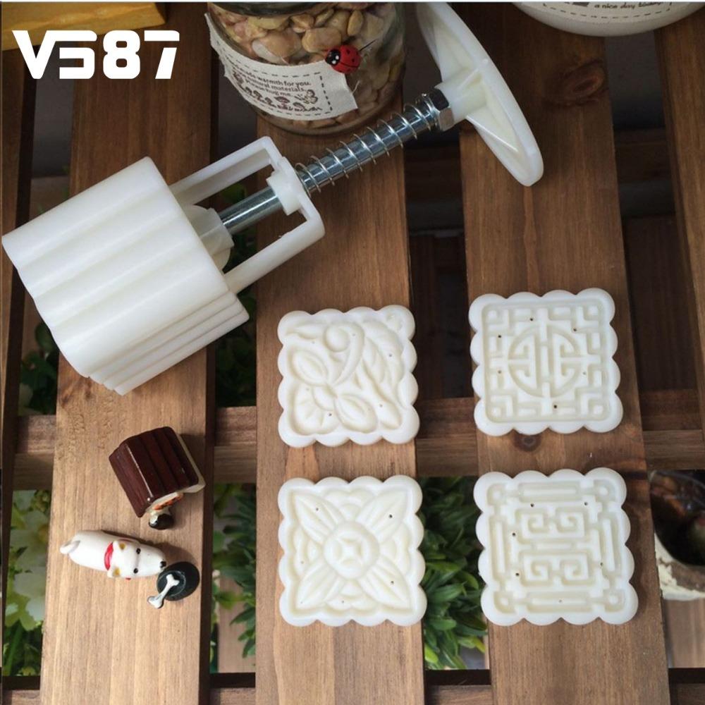 Plastic Moon Cake Mold Mooncake Shaper Pastry Dough Cutter Square 4 Stamps DIY Dessert Making Helper Baking Tools Bakeware(China (Mainland))