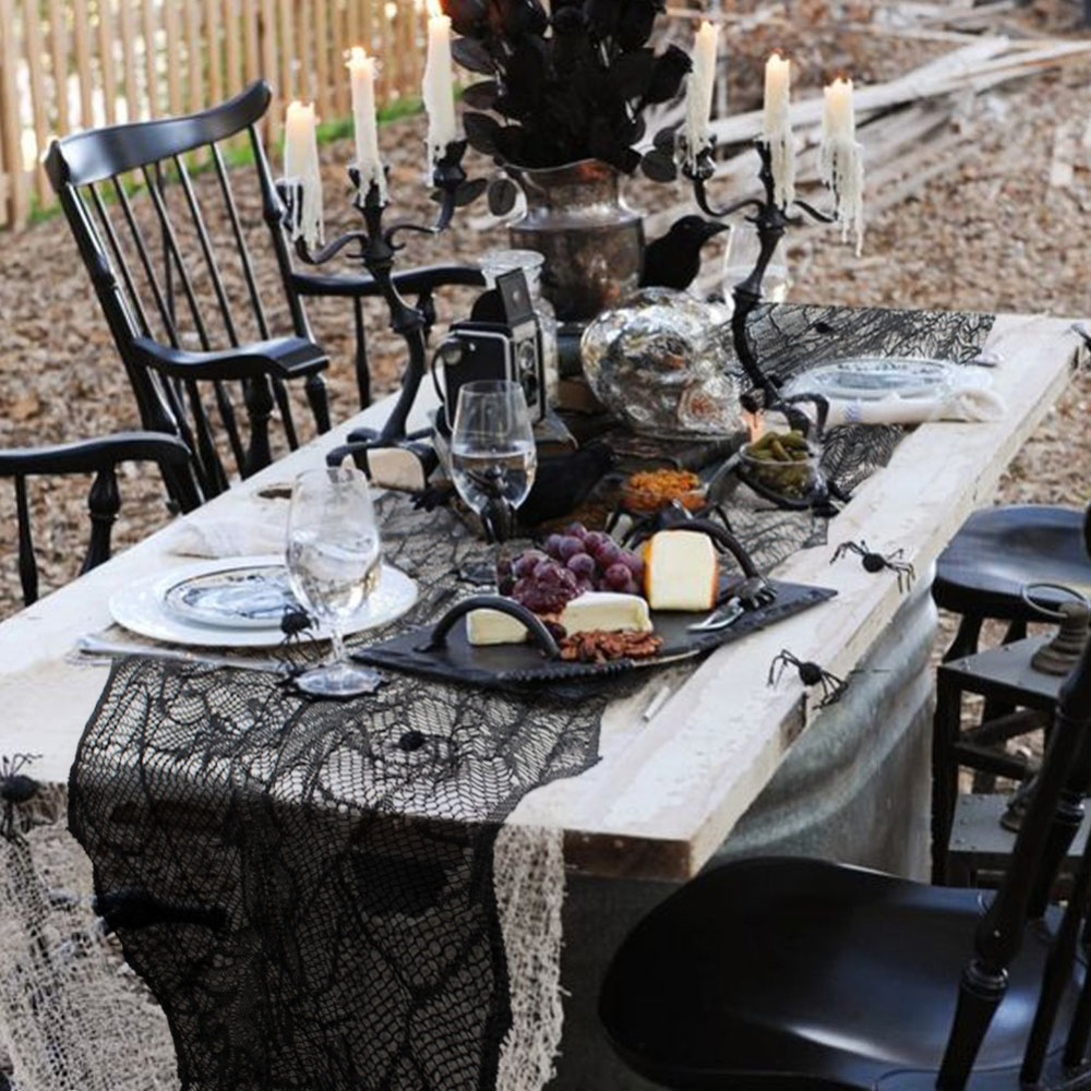 Black Leaf Tablecloth Halloween Decorations Home
