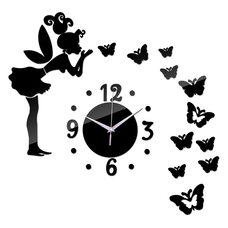 2016 promotion real new 3d diy mirror wall clock art Acrylic Quartz Watch home decoration supplies stickers clocks free shipping(China (Mainland))