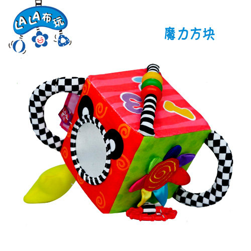 Free shipping multifunctional educational cloth color magic square plush rattle safety mirror newborn toy baby infant gift 1 pc(China (Mainland))