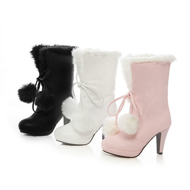 New arrive ladies' beautiful cutu winter to keep warm high heels half snow boots size 34-39(China (Mainland))