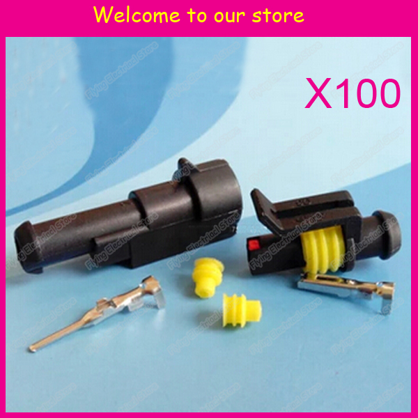 100sets 1P auto waterproof automotive Wire Connector Plug 1 Pins Electrical Car connector for car,boat(China (Mainland))