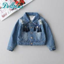 Buy Girls clothes Hole denim jacket 2017 spring long sleeve Outerwear & Coats baby girls clothing fashion tassel denim jacket coat for $28.00 in AliExpress store