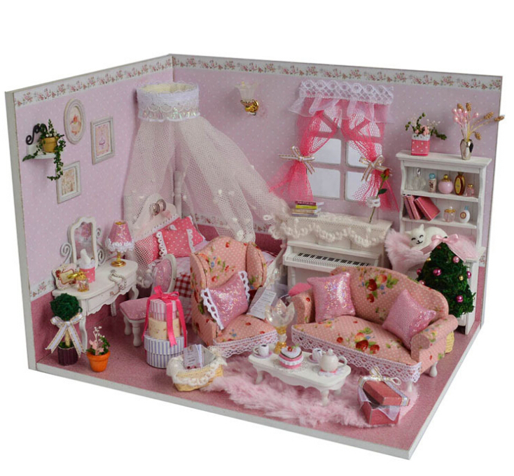 Diy Doll House Miniature Handmade Assembling Model Building Kits Luxurious Dollhouse Birthday Gift puzzle room-Princess diaries - BOA 's store
