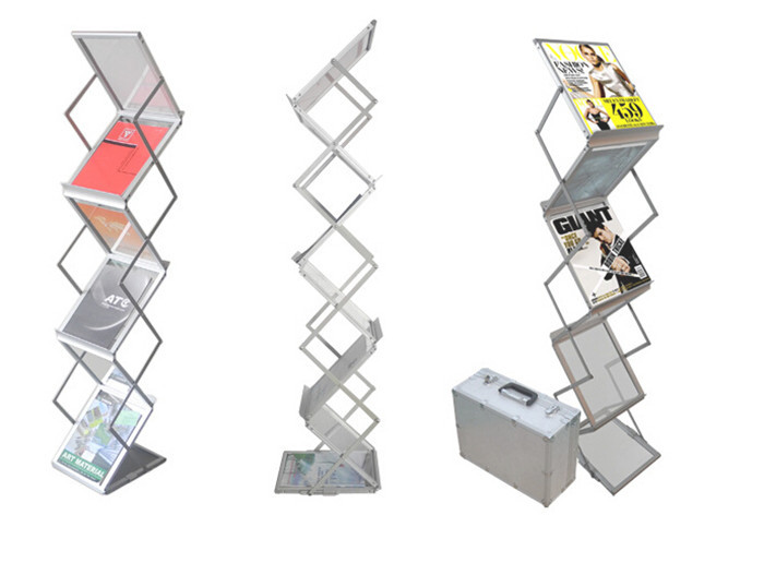 Aluminum Alloy Folding Brochures Pamphlets Books Literatures A4 Display Holders Rack Stand By 6 Faces To Show 10pcs(China (Mainland))