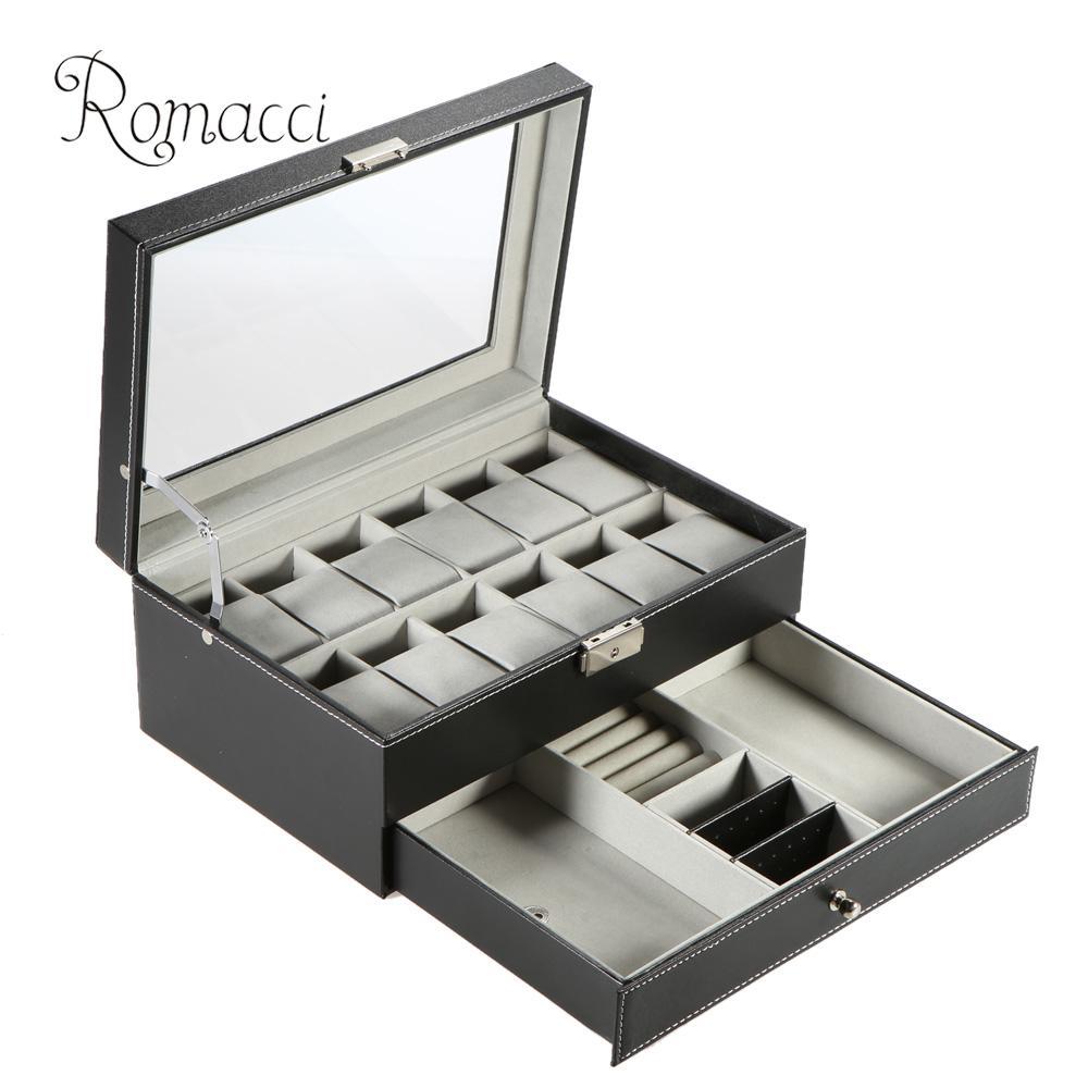Romacci Double-layer PU Leather 12 Grid Watch Jewelry Display Box Case Lockable Jewelry Storage Organizer with Watch Pillows(China (Mainland))