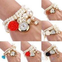 Women Watches Rose Flower Design Faux Pearl Round Dial Analog Quartz Bracelet WristWatches