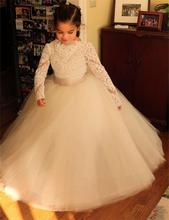 2016 White Lace Long Sleeve Ball Gown Flower Girl Dresses Floor-Length Girls Pageant First Communion - Fantastic Wedding Store store