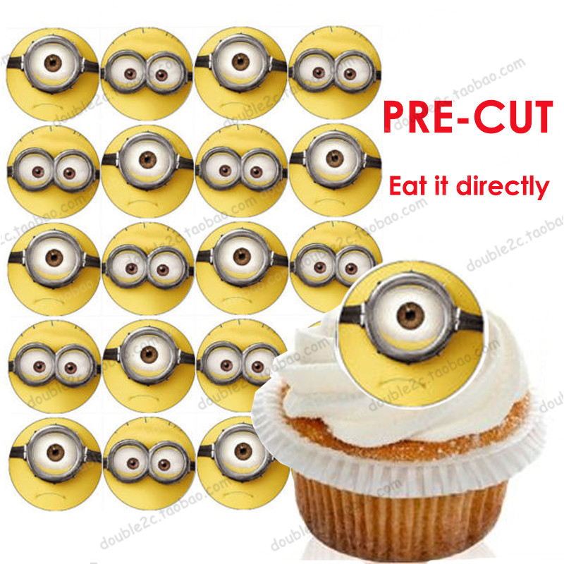 """Wafer paper for cup cake topper minion,minions decoration birthday party,2"""" 20pcs/set,minions festa,happy birthday cake topper(China (Mainland))"""