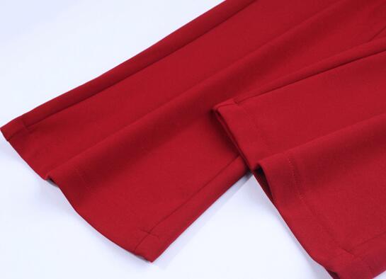 Elastic waist casual capris flare pants for women plus size 8 solid colour blue white black red beige trousers female fzp0701
