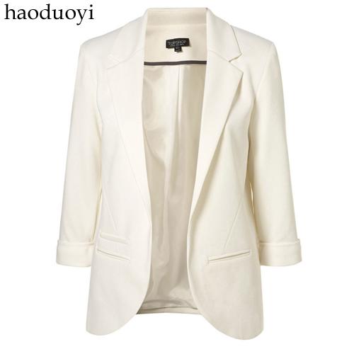 Конфеты цвет три четверти рукав женский костюм chromophous тонкий пиджак haoduoyi ...