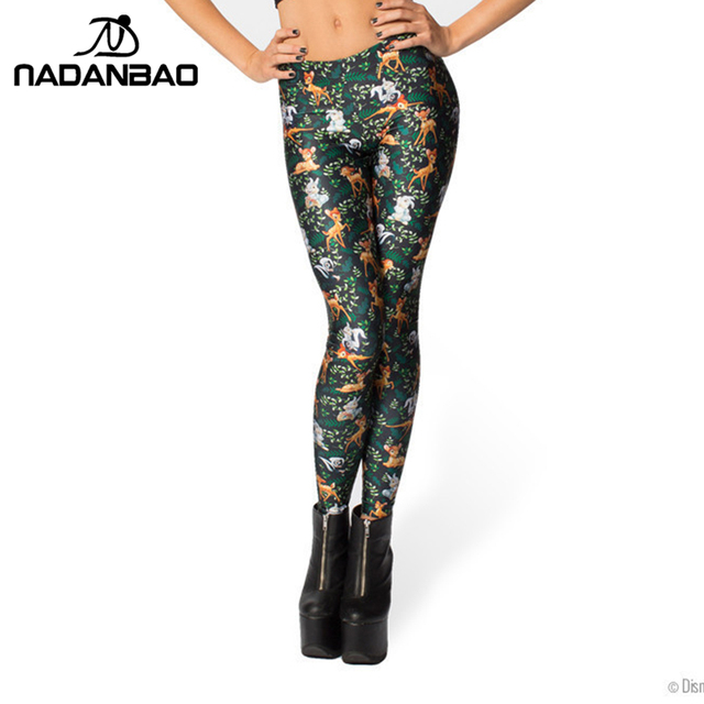 2015 Черный milk High Талия Deer Bambi Animail Print Leggings for Женщины fitness ...