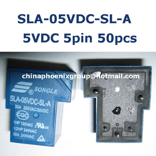 wholesale songle relay SLA-05VDC-SL-A 30A 250VAC coil voltage 5V 5 feet normally open 50pcs free shipping <br><br>Aliexpress