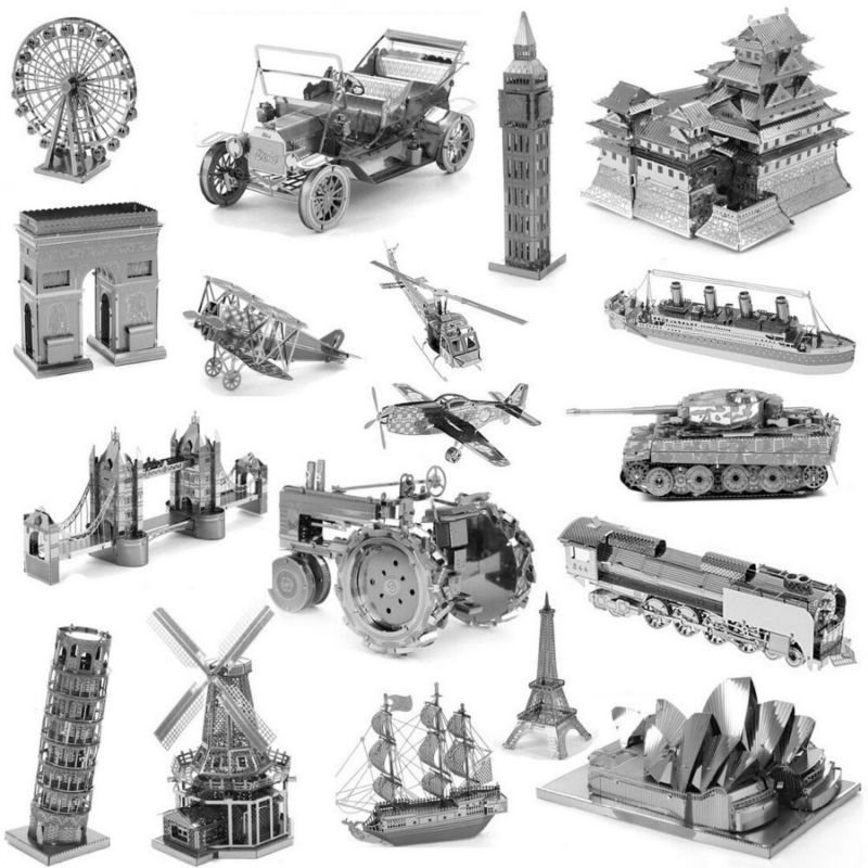 DIY 3D Metal Puzzles for children Adults Model Jigsaw Sky Wheel Ford Bubble Car Himeji Castle Big Ben Titanic T34 Tank Tractor(China (Mainland))