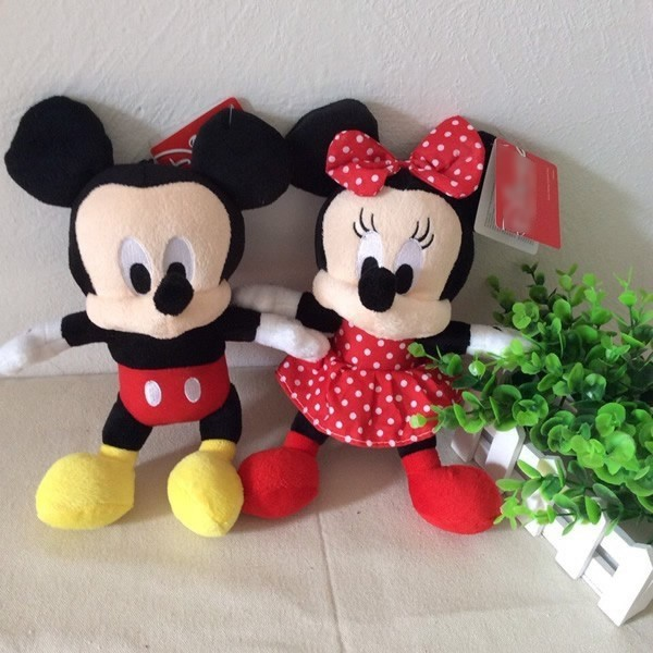 Free Shipping 1pairs 28cm Mickey Mouse And Minnie Mouse Stuffed animals Toys Mickey And Minnie Plush Dolls For Kids/Party gift(China (Mainland))