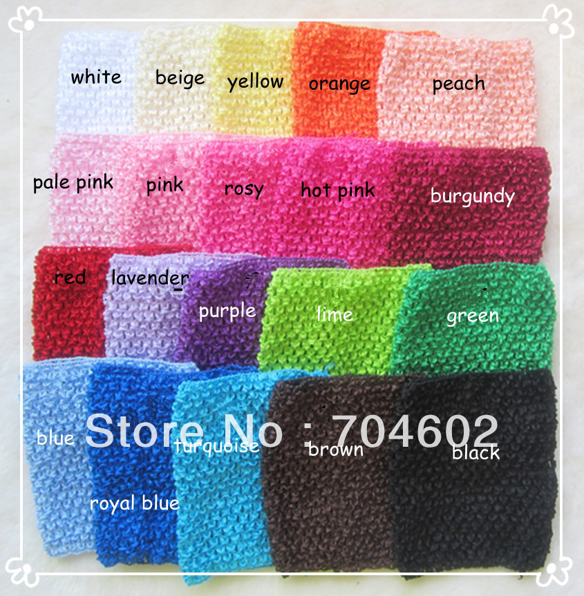 Free Shipping 6Inch Crochet Baby Tutu Top popular Headbands Stretchy Hair Accessories Hair Band 20 color 30pcs /lot H015(China (Mainland))