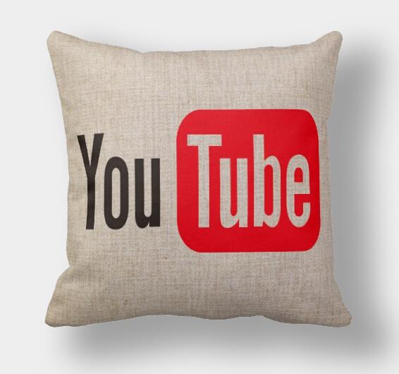 YouTube pillow case, logo pillowcase, simple social media logo YouTube throw pillow case pillow cover no core(China (Mainland))