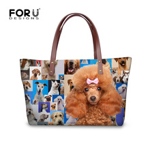 fashion cute pug dog poodle print women handbags casual large women's shoulder bag custom brand top-handle bags animal tote bags
