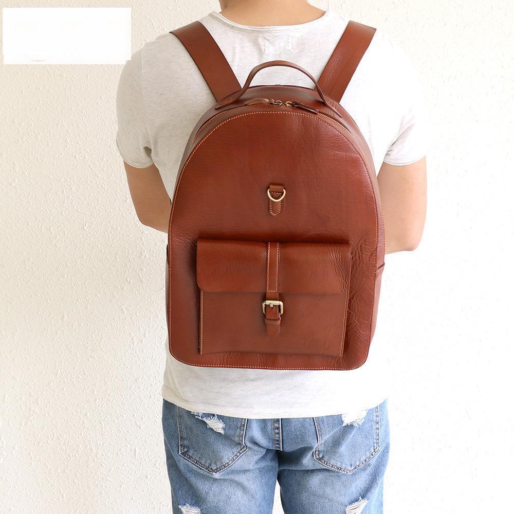 Men Leather Backpack Handbag 2015 New Genuine Leather Women Backpack Travel Mens Fashion Leather Backpack