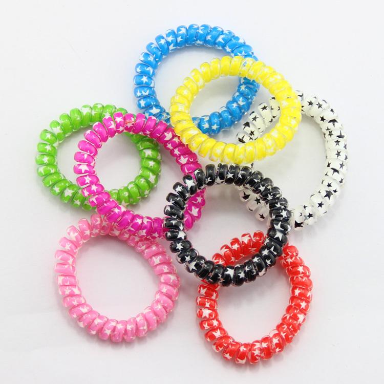 new 2014 fashion women hair accessories elastic hair ties headbands telephone line elastic hair bands key ring Free shipping(China (Mainland))