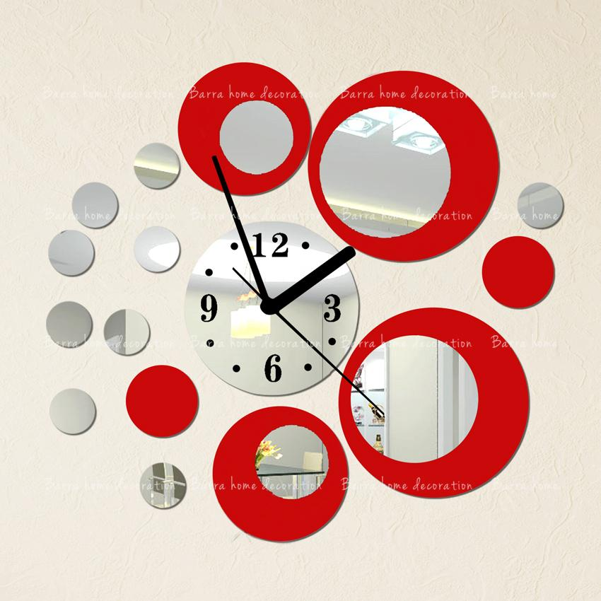 Red silver circle 3D crystal clock, modern design luxury fashion mirror wall 19 circular composite DIY stickers - Barra home decoration store