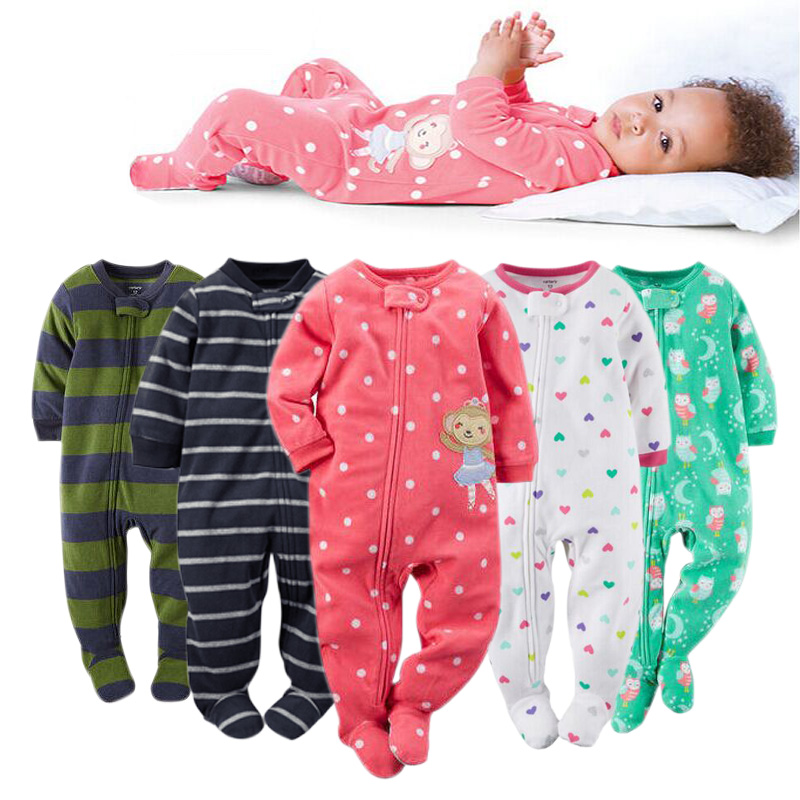 2016 new baby girl clothes , soft fleece kids one pieces Jumpsuits Pajamas newborn infant girl boys clothes baby costumes bebes(China (Mainland))