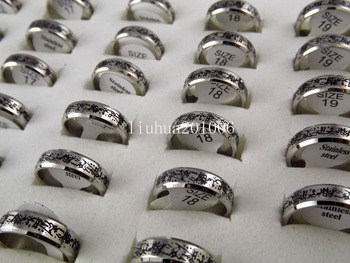 Wholesale 18 pcs 6mm Black Etched Carving High quality Faceted Edges Stainless Steel Rings