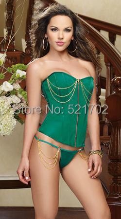 Free shipping ,big discount, Green corset(China (Mainland))