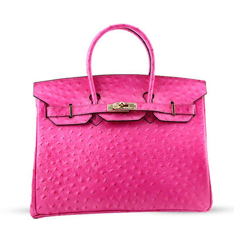 30cm Genuine Leather Women Ostrich Pattern Bag Small Designer Office Ladies Handbag 2016 Fashion Female Cowhide Shoulder Bags