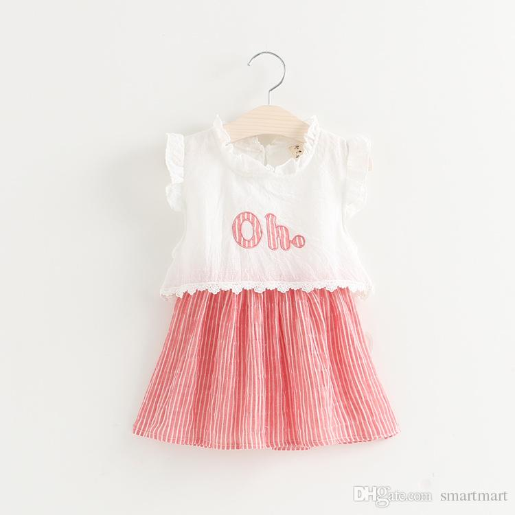New 2016 Baby Girls Print Letter Straight Stripe Dress Kids Lovely Dress Casual Style for 2-7T<br><br>Aliexpress