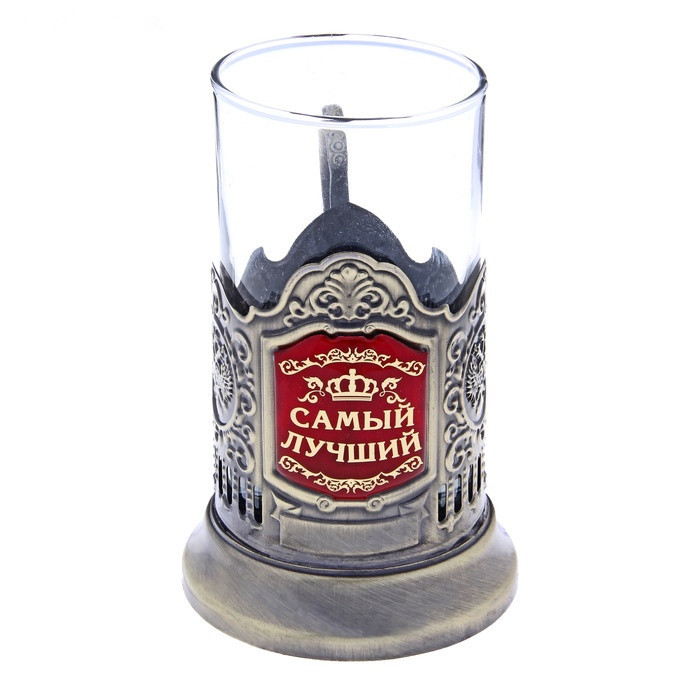 "Russian style anti-scald placed 6.4cm diameter glass for hot water brass color saucer tea cup holder with a glass of ""best""(China (Mainland))"