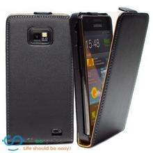 New Black Magnetic clasp Pouch Cell Phone Holster Vertical Flip Leather Back Cover Case For Samsung Galaxy S2 I9100 Plus i9105