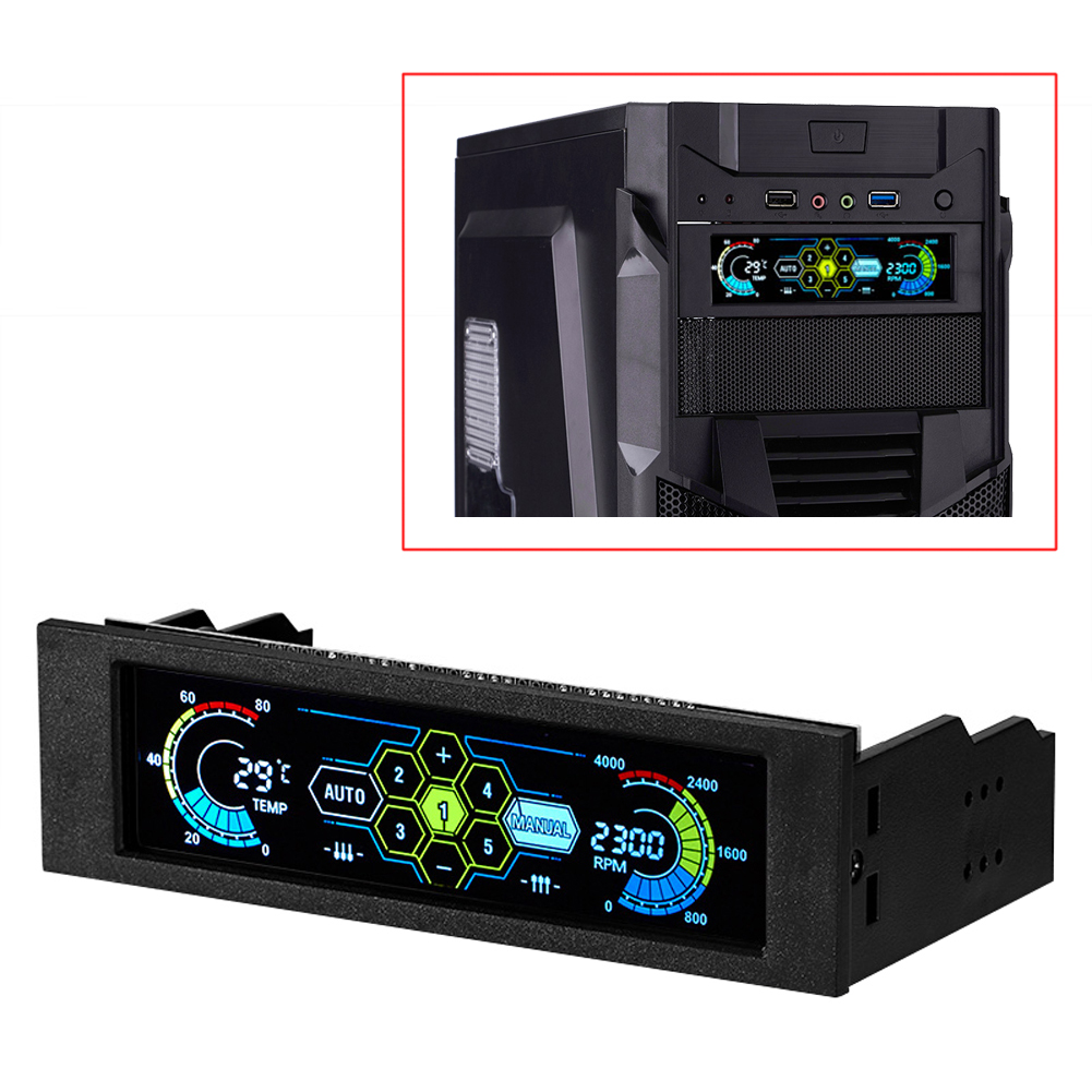 Computer Fan Controller Black AUTO//Manual Computer Cooling CPU Temperature Sensor 5-Fans Speed Controller Bay with Front LCD Panel Display