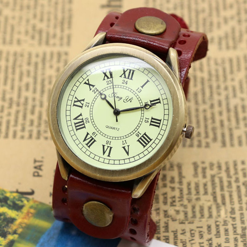 Roma Number Dial Vintage Leather Bracelet Quartz Wrist Watch Men Boy Gifts