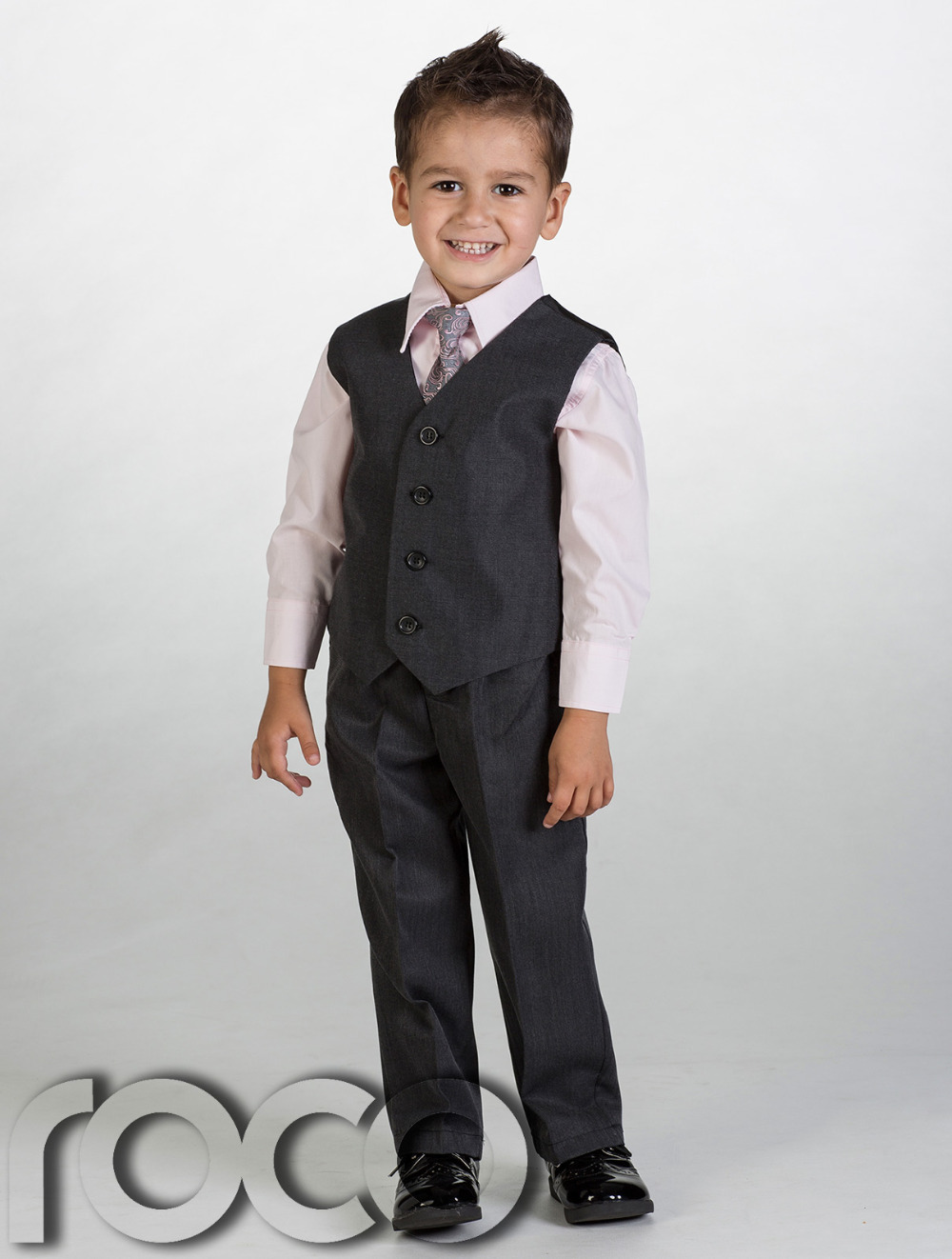 Top Quality Grey Boys Wedding Clothes Formal Clothing Boys