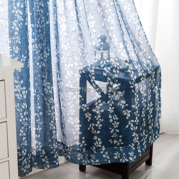 Linen tulle curtains window screening sheer curtain leaves print finished product bedroom blind sala rideau deco cortinas(China (Mainland))