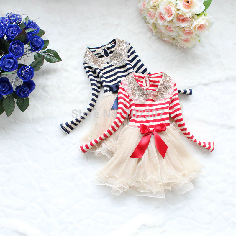 Wholesale New Arrived girl long-sleeved sequined collar striped dress girl Gauze dress 2 colors 4pcs/lot free shipping 008(China (Mainland))