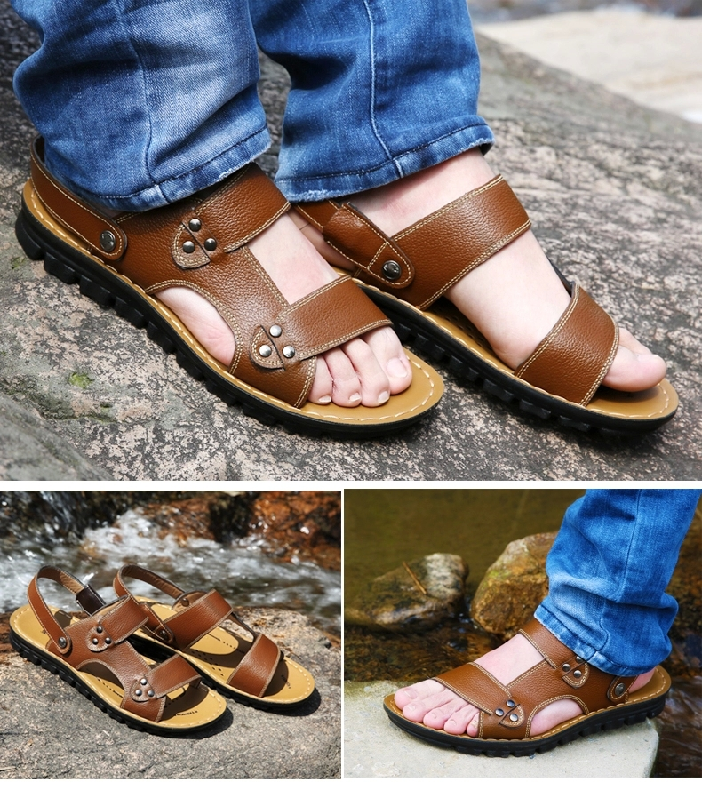 2015 polyurethane soles leather sandals men sandals breathable non-slip solid leather casual slippers(China (Mainland))