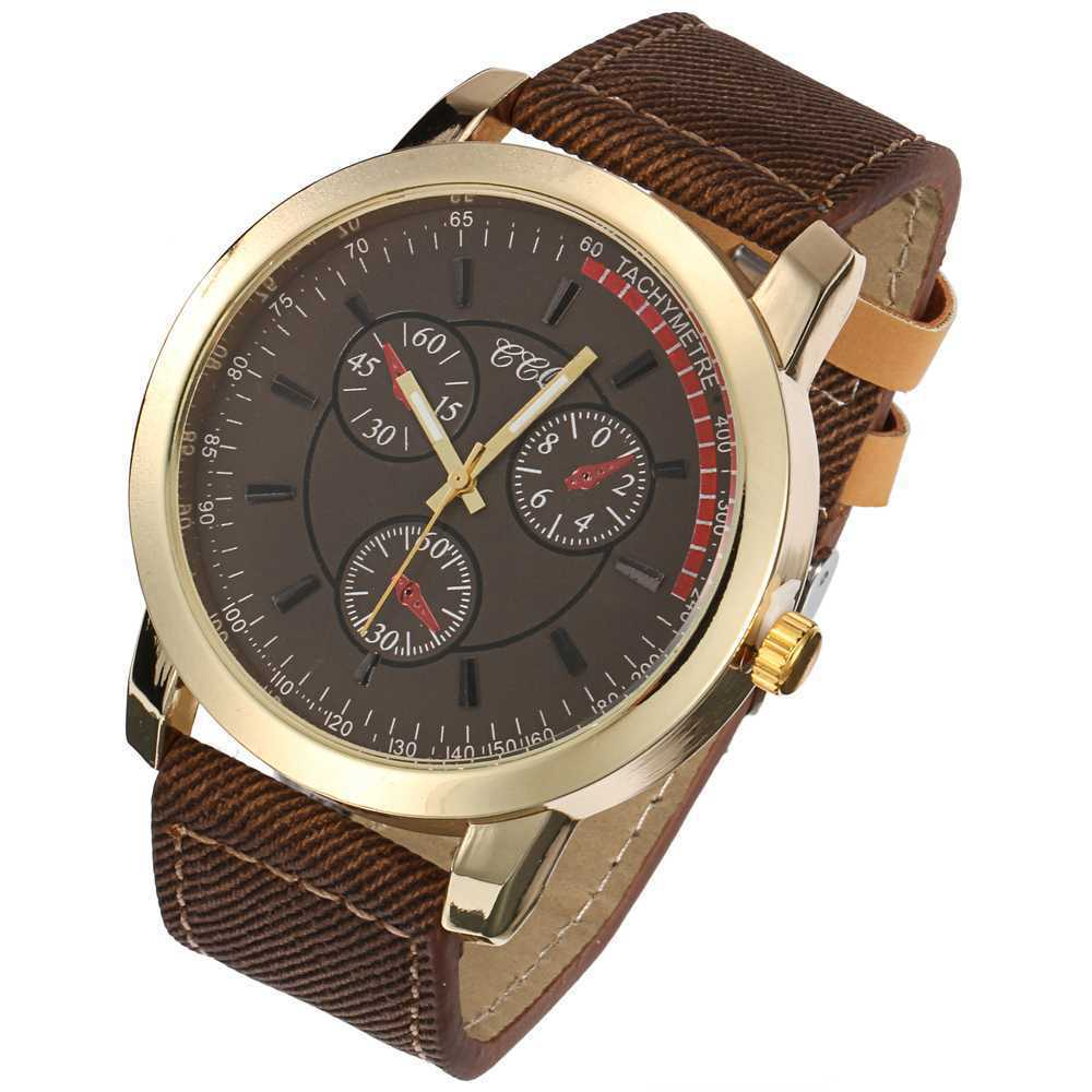 Free shipping 2015 New Hot PU cloth strap and gold three men watch mens fashion watches simple canvas Wristwatch     W334<br><br>Aliexpress